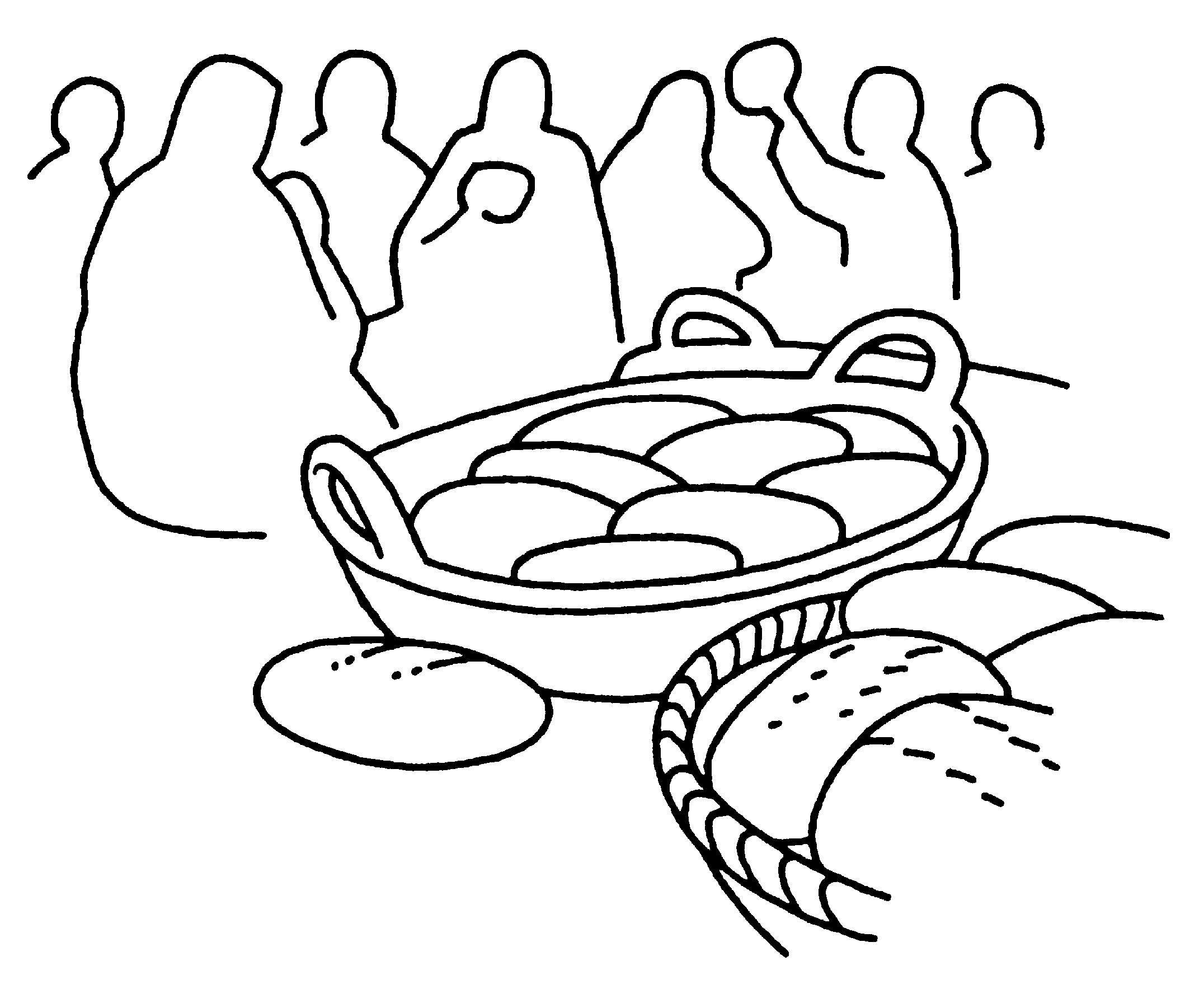 Atractivo Colorear Dos Peces Y Cinco Panes De Pan Adorno - Dibujos ...